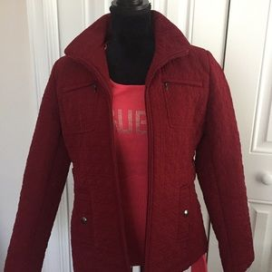 Cherry 🍒 red quilted jacket. EUC